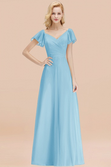 Elegent Short-Sleeve Long Bridesmaid Dress Online Yellow Chiffon Wedding Party Dress_23