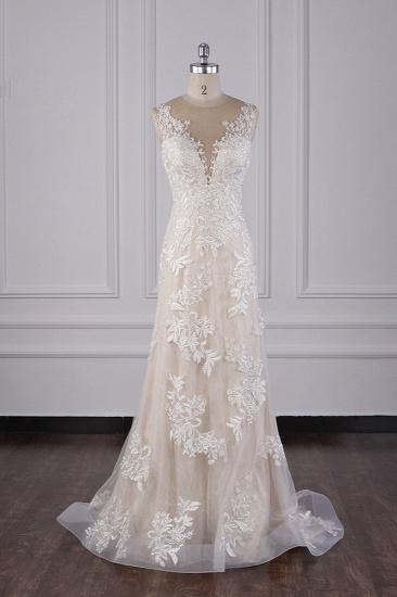 BMbridal Elegant Jewel Tulle Lace Wedding Dress Appliques Sleeveless Mermaid Bridal Gowns Online_1