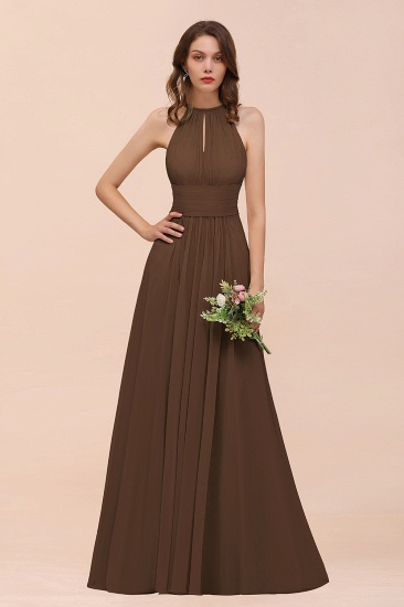 Elegant Chiffon Jewel Ruffle Champagne Affordable Bridesmaid Dress Online_12