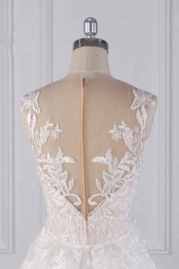 BMbridal Elegant Jewel Tulle Lace Wedding Dress Appliques Sleeveless Mermaid Bridal Gowns Online_7