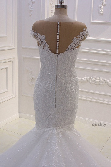 BMbridal Elegant Jewel Tulle Lace Sequined Wedding Dress Mermaid Appliques Sleeveless Bridal Gowns On Sale_5