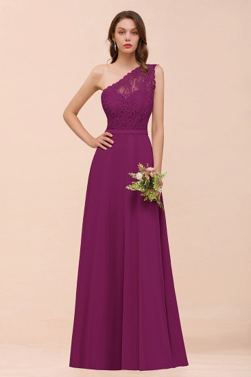 New Arrival Dusty Rose One Shoulder Lace Long Bridesmaid Dress_42