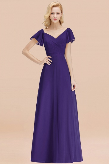 Elegent Short-Sleeve Long Bridesmaid Dress Online Yellow Chiffon Wedding Party Dress_19