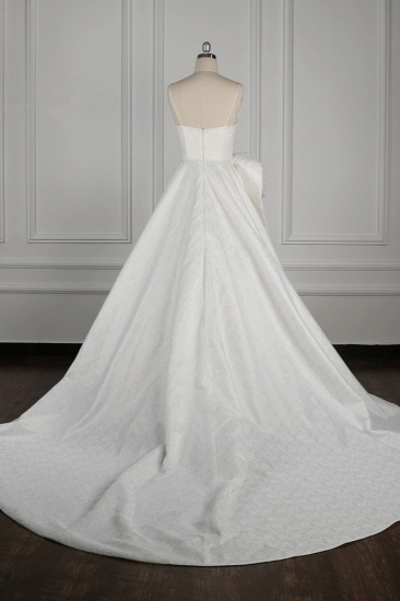 Chic Spaghetti Straps V-neck Wedding Dress Satin Appliques Bow Bridal Gowns Online_3