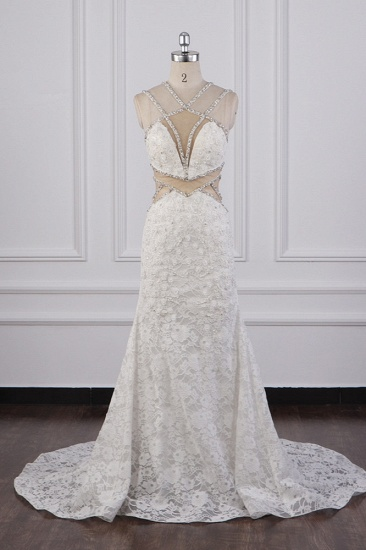 BMbridal Gorgeous Sleeveless Lace Beadings Wedding Dress Appliques Rhinestones Bridal Gowns Online_1
