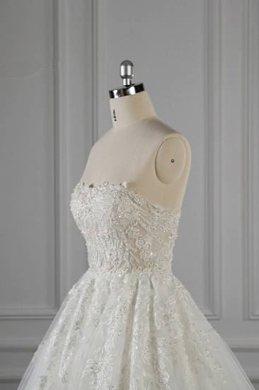 Elegant Strapless White Lace Wedding Dress Sleeveless Appliques Ruffle Bridal Gowns Online_6