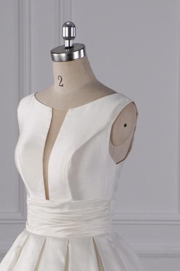 BMbridal Simple Jewel White Satin Wedding Dress Sleeveless Ruffles Bridal Gowns On Sale_6