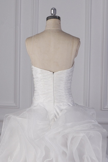 Stylish Organza Strapless White Wedding Dress Ruffles Sleeveless Bridal Gowns On Sale_7