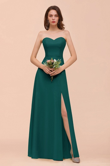 BMbridal Affordable Strapless Front Slit Long Dusty Sage Bridesmaid Dress_33