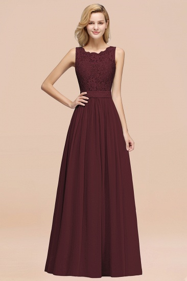 Elegant Chiffon Lace Scalloped Sleeveless Ruffle Bridesmaid Dresses_47