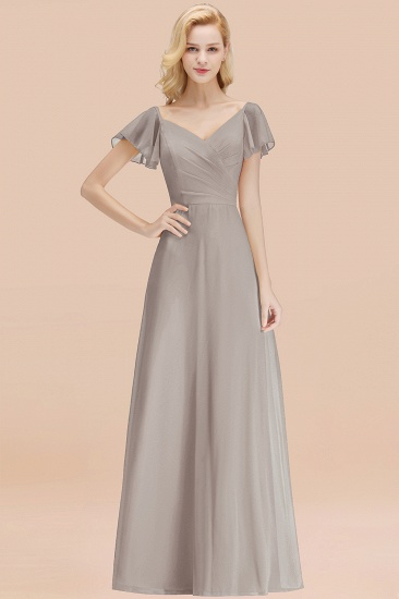 Elegent Short-Sleeve Long Bridesmaid Dress Online Yellow Chiffon Wedding Party Dress_30