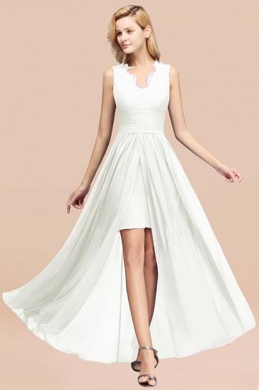 BMbridal Elegant Chiffon Lace Jewel Sleeveless Bridesmaid Dress with Ruffle_2