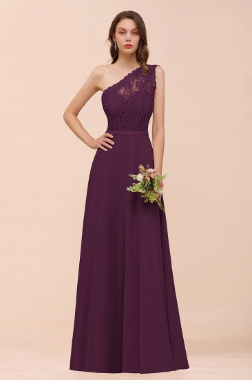 New Arrival Dusty Rose One Shoulder Lace Long Bridesmaid Dress_20