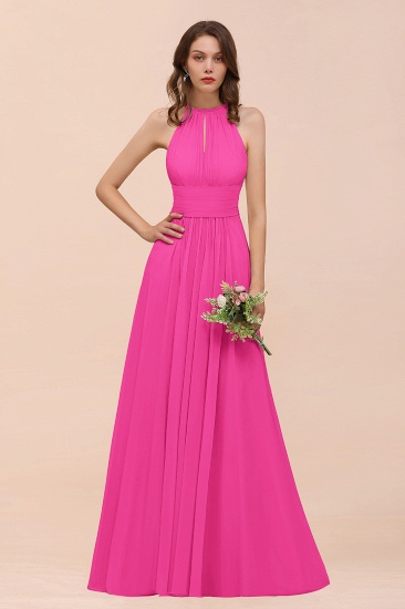 Elegant Chiffon Jewel Ruffle Champagne Affordable Bridesmaid Dress Online_9