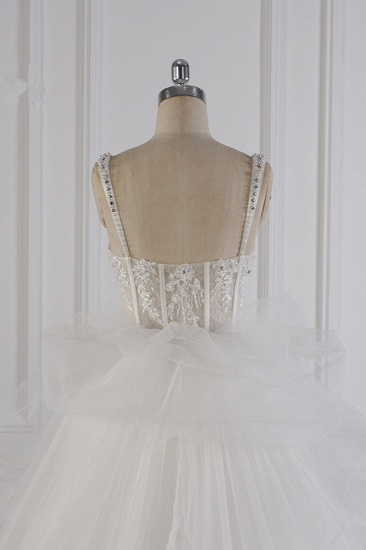 Elegant Straps Tulle Lace Wedding Dress Sweetheart Appliques Beadings Bridal Gowns with Ruffles On Sale_7