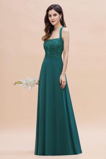 BMbridal Elegant Straps Peacock Chiffon Appliques Bridesmaid Dress Sleeveless On Sale_9