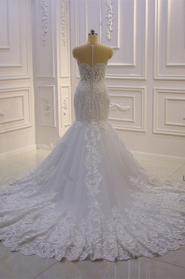 BMbridal Stylish V-Neck Tulle Lace Wedding Dress Mermaid Appliques Beadings Bridal Gowns with Wraps_3