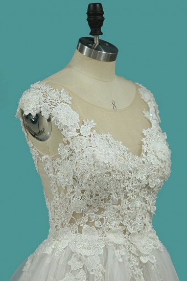BMbridal Chic Jewel Sleeveless Lace Wedding Dress Tull Appliques Ruffles Bridal Gowns Online_4