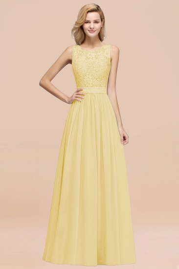 Elegant Chiffon Lace Scalloped Sleeveless Ruffle Bridesmaid Dresses_18