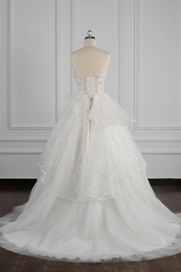 BMbridal Glamorous Ball Gown Strapless Beadings Wedding Dress Sequined Layers Tulle Bridal Gowns On Sale_3