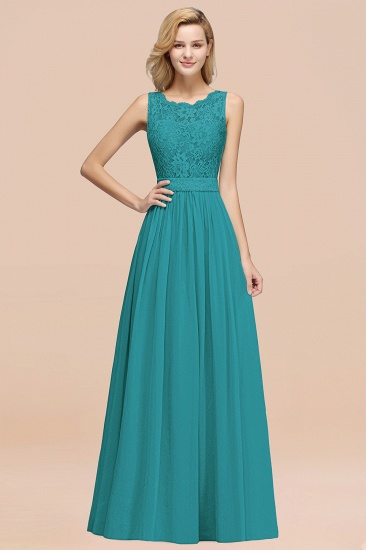 Elegant Chiffon Lace Scalloped Sleeveless Ruffle Bridesmaid Dresses_32