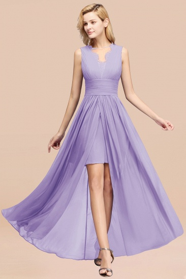 BMbridal Elegant Chiffon Lace Jewel Sleeveless Bridesmaid Dress with Ruffle_21