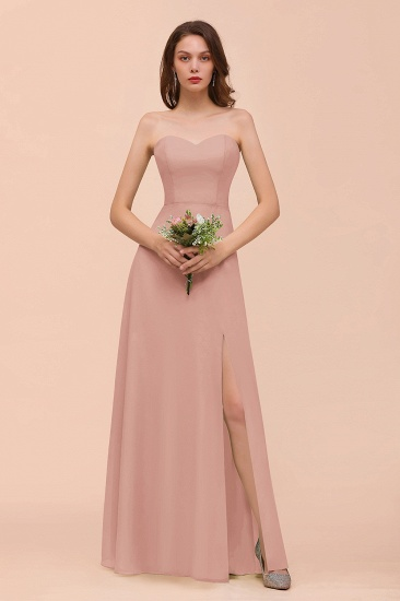 BMbridal Affordable Strapless Front Slit Long Dusty Sage Bridesmaid Dress_6