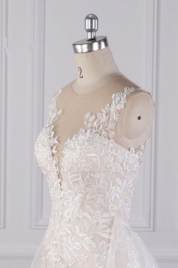 BMbridal Elegant Jewel Tulle Lace Wedding Dress Appliques Sleeveless Mermaid Bridal Gowns Online_6