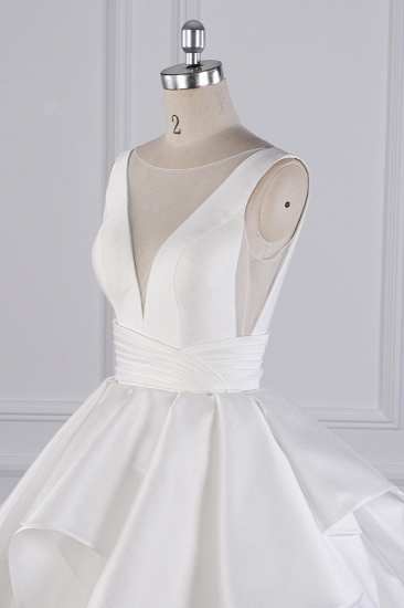 BMbridal Chic Ball Gown Jewel Layers Tulle Wedding Dress White Sleeveless Ruffles Bridal Gowns Online_6