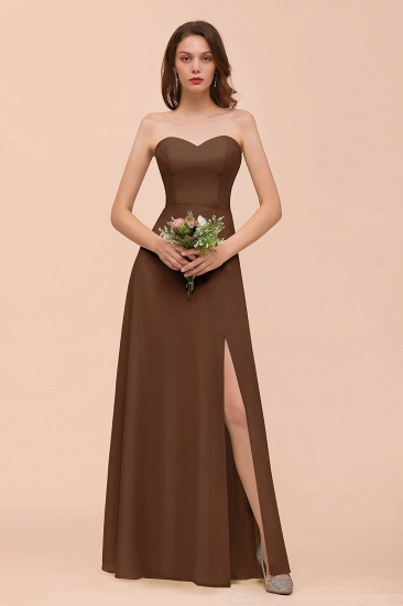 BMbridal Affordable Strapless Front Slit Long Dusty Sage Bridesmaid Dress_12