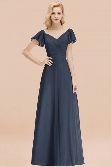 Elegent Short-Sleeve Long Bridesmaid Dress Online Yellow Chiffon Wedding Party Dress_39