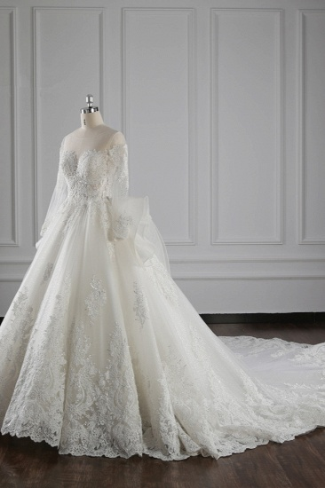 Gorgeous Jewel Lace Tulle Wedding Dress Long Sleeves Beadings Bridal Gowns On Sale_4