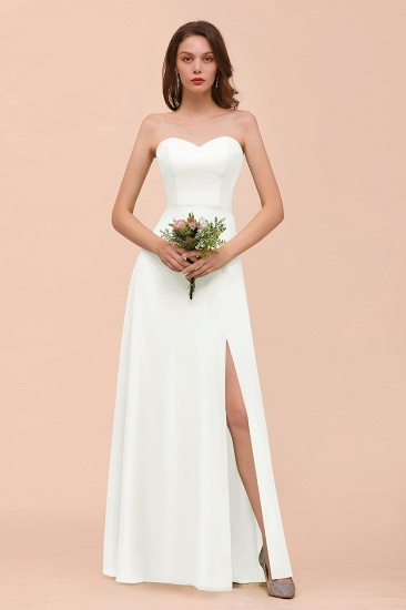 BMbridal Affordable Strapless Front Slit Long Dusty Sage Bridesmaid Dress_2