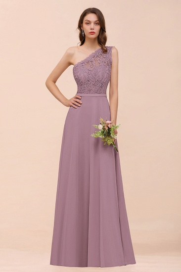 New Arrival Dusty Rose One Shoulder Lace Long Bridesmaid Dress_43