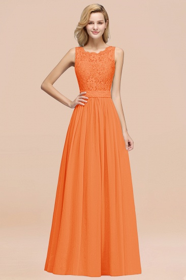 Elegant Chiffon Lace Scalloped Sleeveless Ruffle Bridesmaid Dresses_15