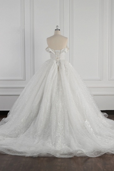 Luxury Ball Gown Off-the-Shoulder Tulle Lace Wedding Dress Appliques Sleeveless Bridal Gowns On Sale_3