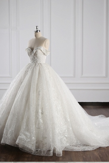 Luxury Ball Gown Off-the-Shoulder Tulle Lace Wedding Dress Appliques Sleeveless Bridal Gowns On Sale_4