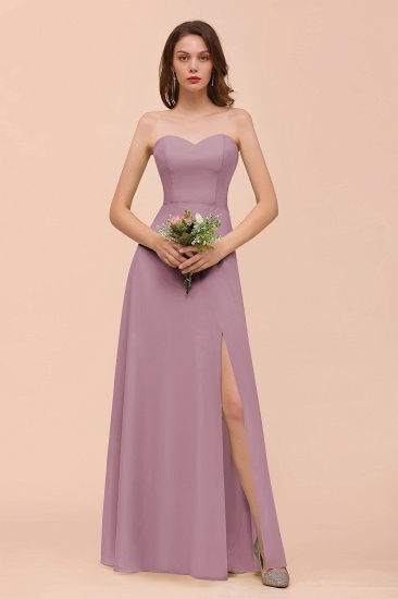 BMbridal Affordable Strapless Front Slit Long Dusty Sage Bridesmaid Dress_43