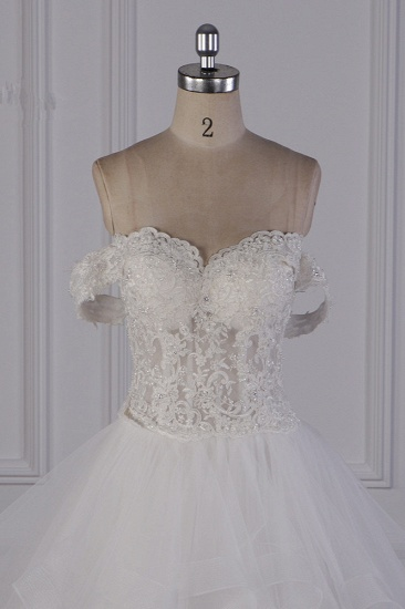 BMbridal Stylish Off-the-Shoulder Tulle Lace Wedding Dress Strapless Appliques Ruffles Beading Bridal Gowns On Sale_5