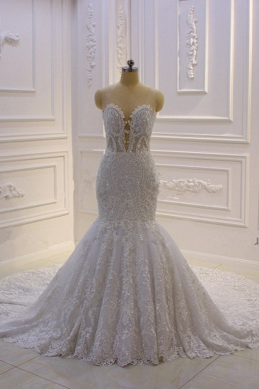 BMbridal Stylish V-Neck Tulle Lace Wedding Dress Mermaid Appliques Beadings Bridal Gowns with Wraps_4