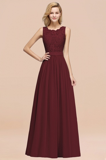 Elegant Chiffon Lace Scalloped Sleeveless Ruffle Bridesmaid Dresses_10