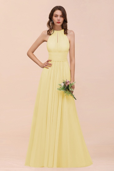 Elegant Chiffon Jewel Ruffle Champagne Affordable Bridesmaid Dress Online_18