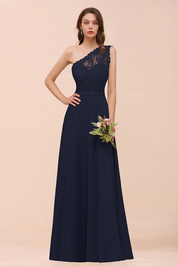 New Arrival Dusty Rose One Shoulder Lace Long Bridesmaid Dress_28