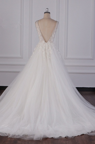 BMbridal Sexy Deep-V-Neck Ball Gown Wedding Dress Sleeveless Appliques Beadings Bridal Gowns On Sale_4