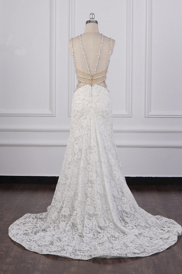 BMbridal Gorgeous Sleeveless Lace Beadings Wedding Dress Appliques Rhinestones Bridal Gowns Online_3