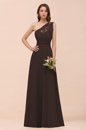 New Arrival Dusty Rose One Shoulder Lace Long Bridesmaid Dress_11