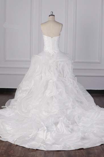Stylish Organza Strapless White Wedding Dress Ruffles Sleeveless Bridal Gowns On Sale_3
