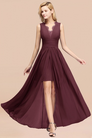 BMbridal Elegant Chiffon Lace Jewel Sleeveless Bridesmaid Dress with Ruffle_47