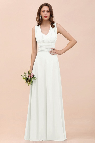 New Arrival Dusty Blue Ruched Long Convertible Bridesmaid Dresses_2