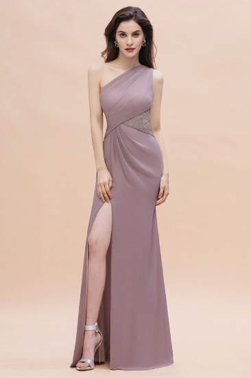BMbridal Chic One-Shoulder Dusk Chiffon Lace Ruffle Bridesmaid Dress with Front Slit On Sale_2